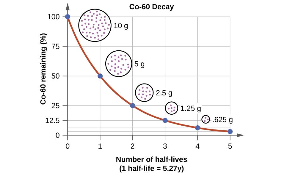 Processo de decaimento do cobalto-60 - Após uma semivida