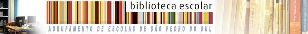 Logo da Biblioteca Escolar do Agrupamento de Escolas de São Pedro do Sul.
